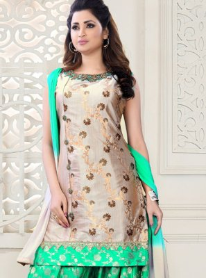Embroidered Art Silk Salwar Suit