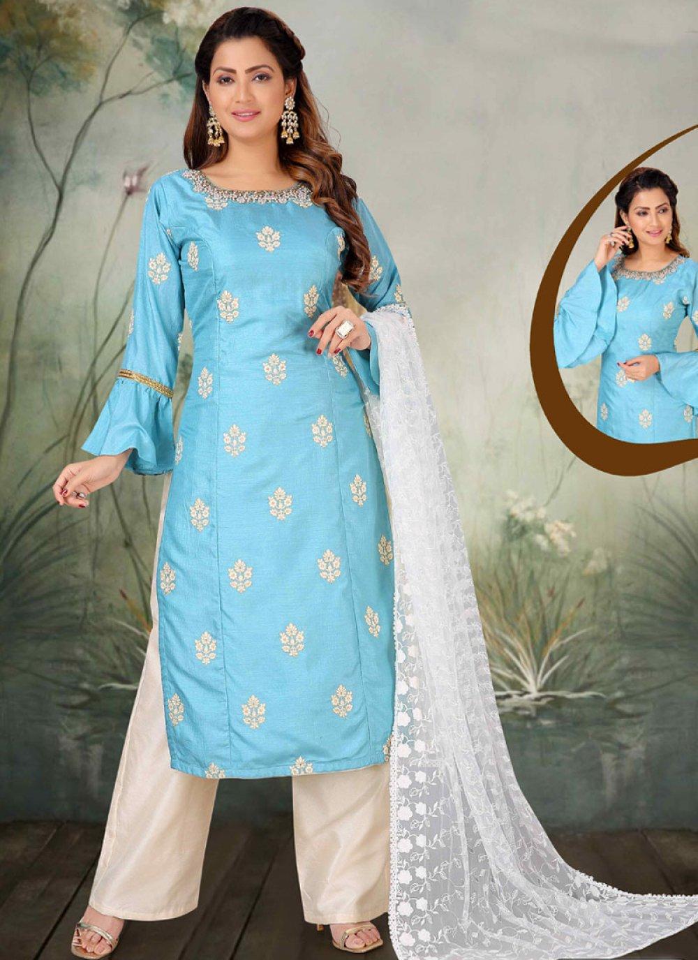 Embroidered Art Silk Salwar Suit