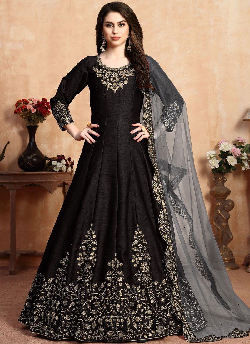 Embroidered Art Silk Salwar Suit in Black