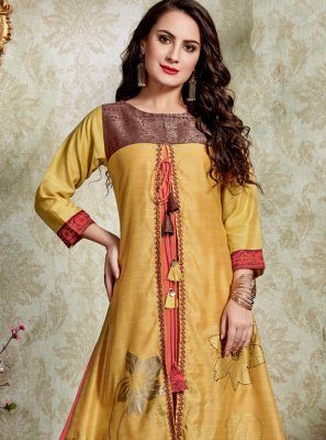Embroidered Art Silk Yellow Casual Kurti