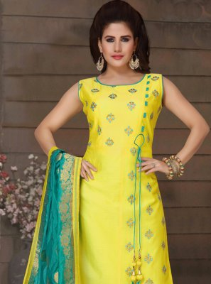 Embroidered Art Silk Yellow Trendy Salwar Suit