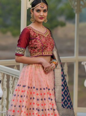 Embroidered Banarasi Silk A Line Lehenga Choli