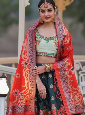 Embroidered Banarasi Silk A Line Lehenga Choli in Green