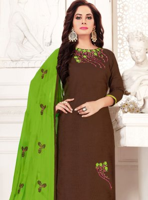 Embroidered Banarasi Silk Brown Salwar Kameez
