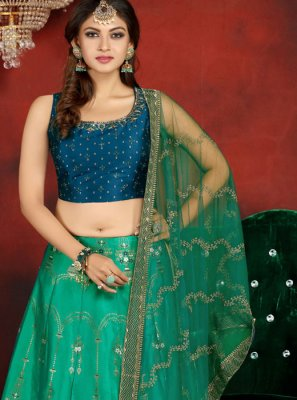 Embroidered Banarasi Silk Readymade Lehenga Choli
