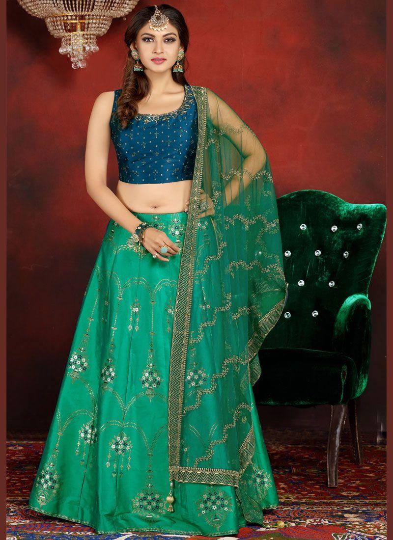 Embroidered Banarasi Silk Readymade Lehenga Choli