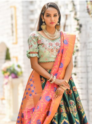 Embroidered Banarasi Silk Trendy Lehenga Choli in Green