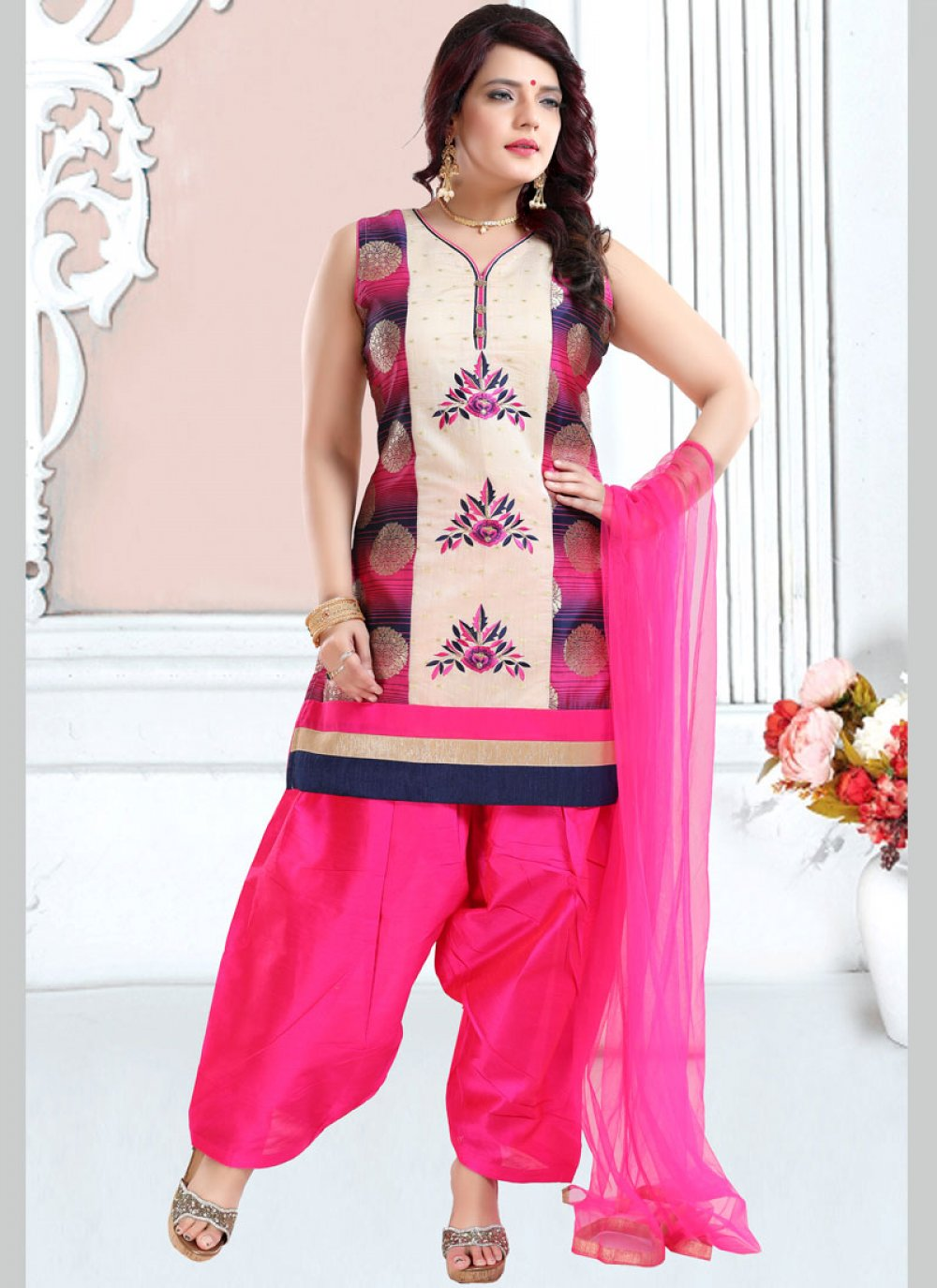 Embroidered Banglori Silk Designer Patiala Suit