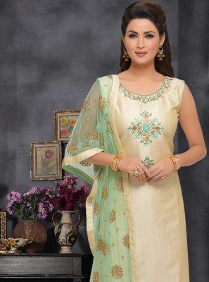 Embroidered Beige Art Silk Trendy Salwar Kameez