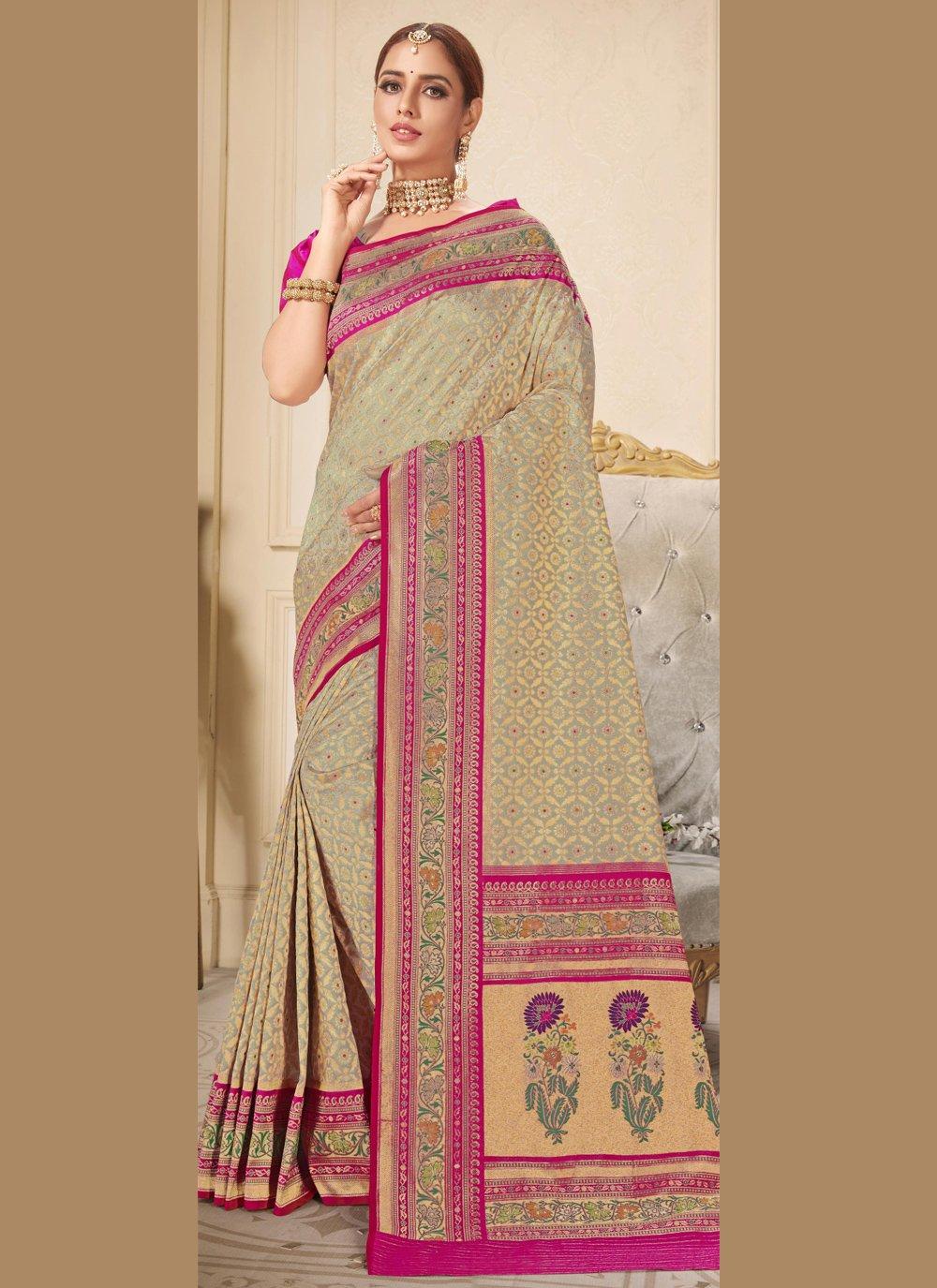 Embroidered Beige Brocade Trendy Saree