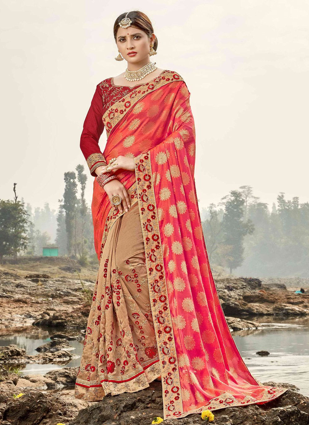 Embroidered Beige Classic Saree