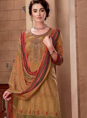 Embroidered Beige Cotton Designer Palazzo Suit
