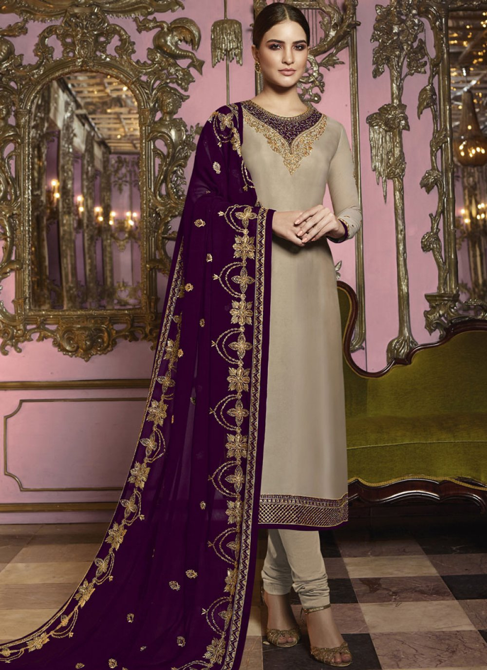 Embroidered Beige Georgette Satin Churidar Designer Suit