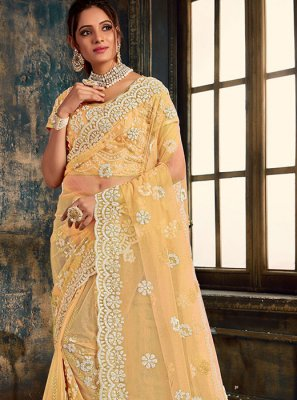 Embroidered Beige Net Classic Saree