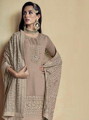 Embroidered Beige Palazzo Designer Salwar Suit