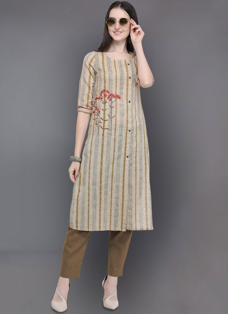 Embroidered Beige Party Wear Kurti