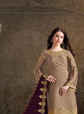 Embroidered Beige Satin Salwar Suit