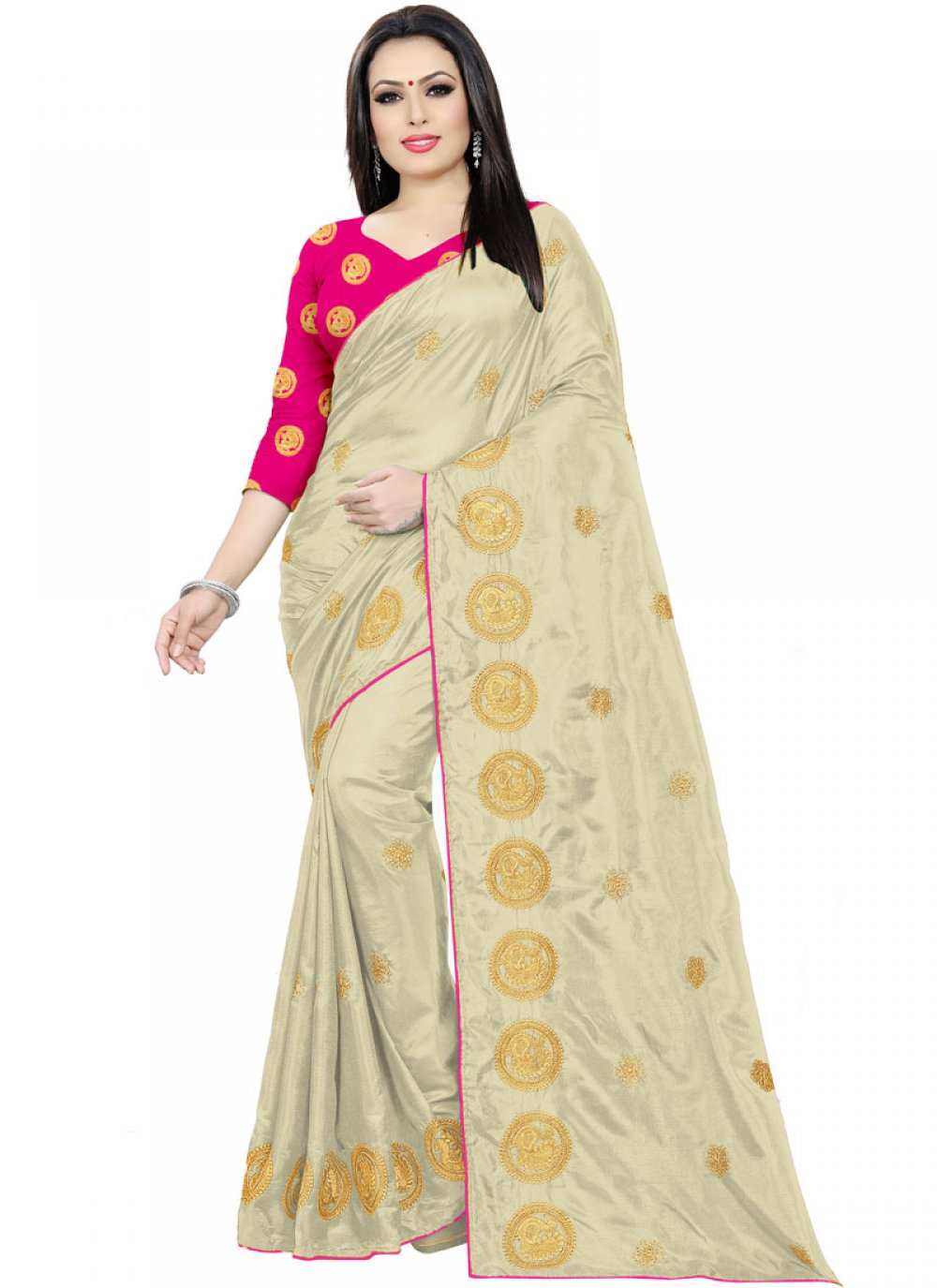 Embroidered Beige Trendy Saree