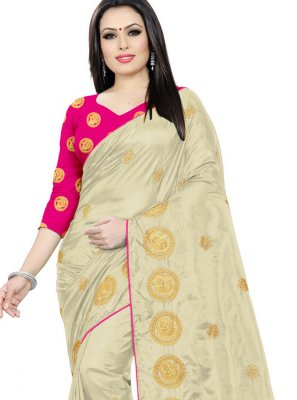 Embroidered Beige Trendy Saree