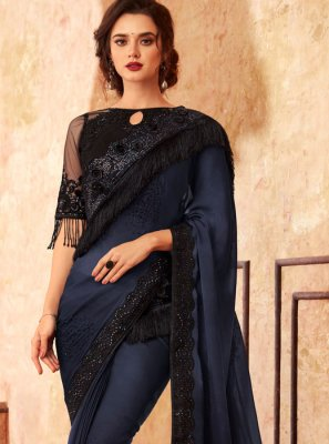 Embroidered Black and Blue Art Silk Shaded Saree