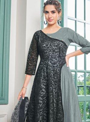 Embroidered Black and Grey Salwar Kameez