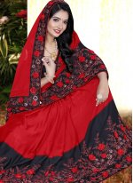 Embroidered Black and Red Silk Classic Saree