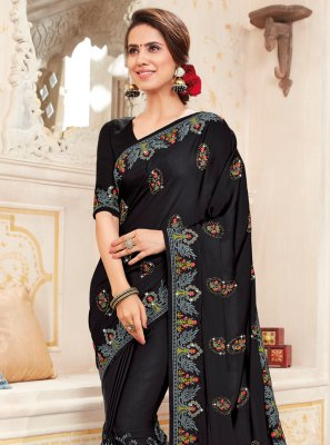 Embroidered Black Art Silk Saree