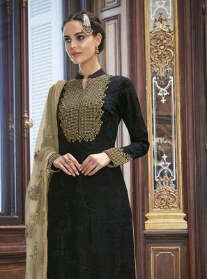 Embroidered Black Churidar Salwar Kameez