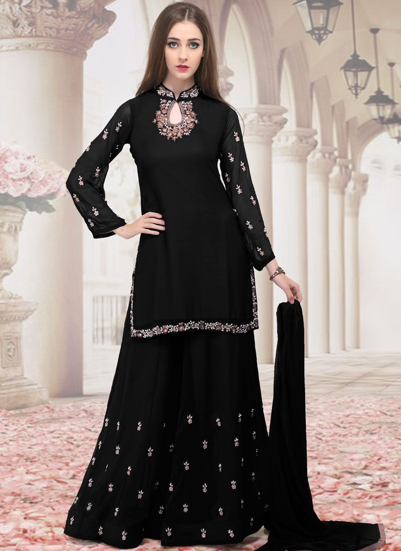 Embroidered Black Faux Georgette Trendy Palazzo Suit