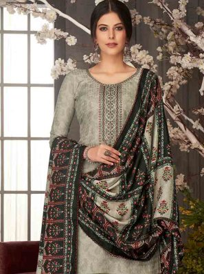 Embroidered Black Pashmina Salwar Suit