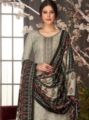 Embroidered Black Pashmina Salwar Suit