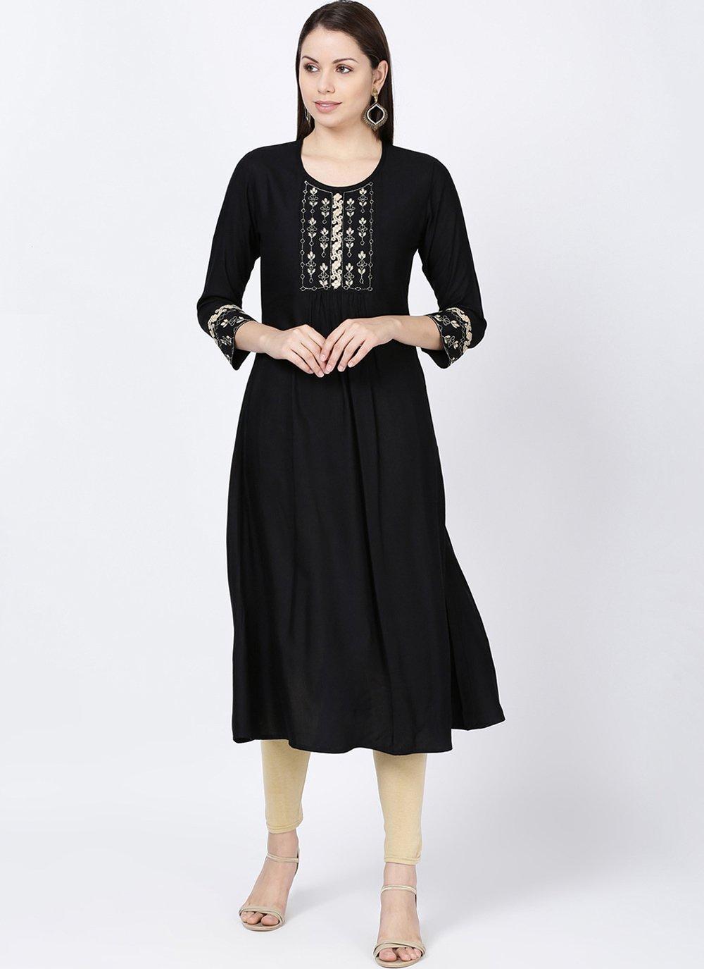 Embroidered Black Rayon Casual Kurti