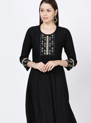 Embroidered Black Rayon Casual Kurti