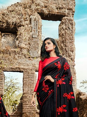 Embroidered Black Silk Classic Designer Saree