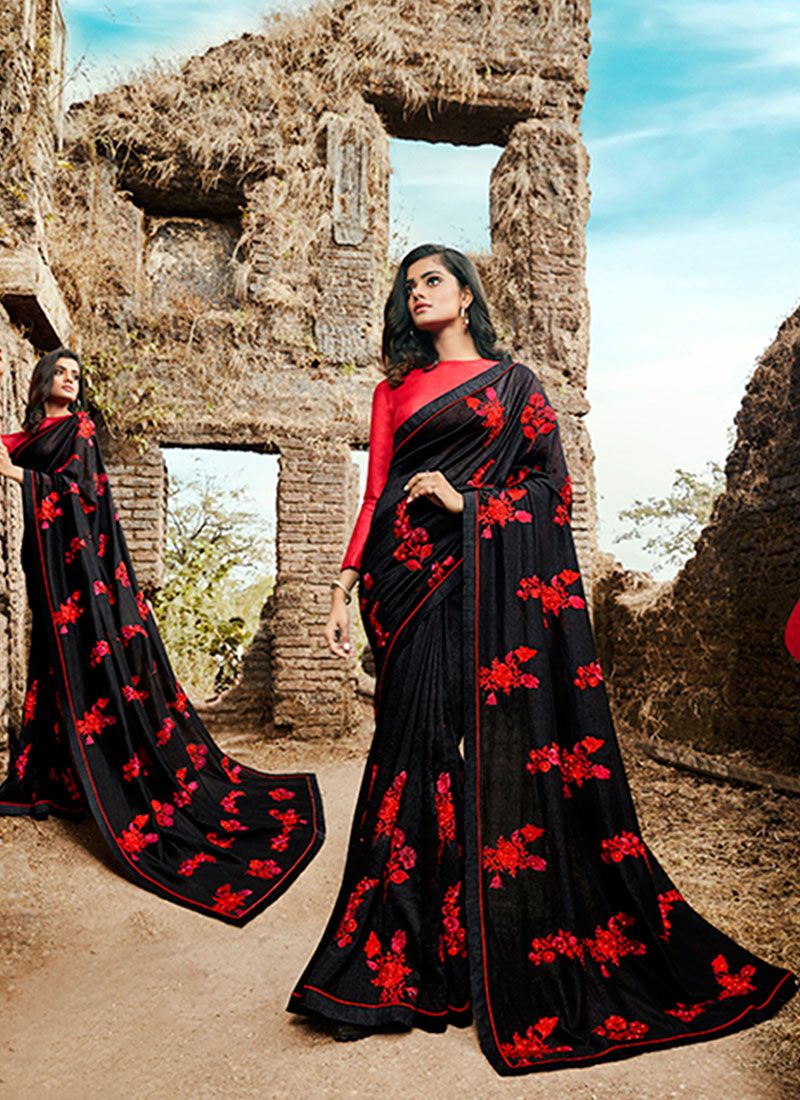 Embroidered Black Silk Classic Designer Saree