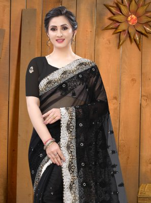 Embroidered Black Trendy Saree