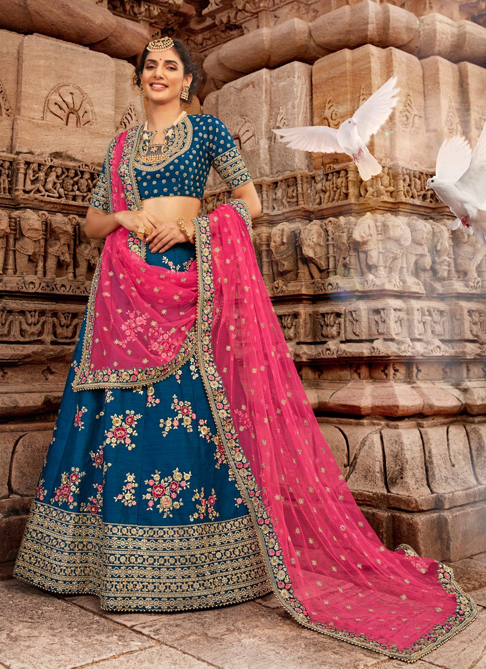 Embroidered Blended Cotton Blue Designer Lehenga Choli