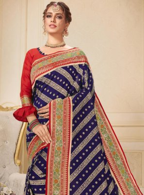 Embroidered Blue Brocade Contemporary Saree