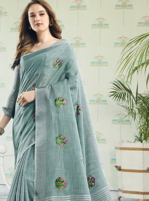 Embroidered Blue Cotton Designer Saree