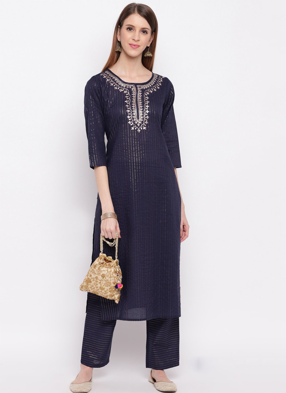 Embroidered Blue Cotton Silk Party Wear Kurti