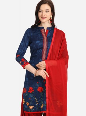 Embroidered Blue Cotton Trendy Patiala Salwar Kameez