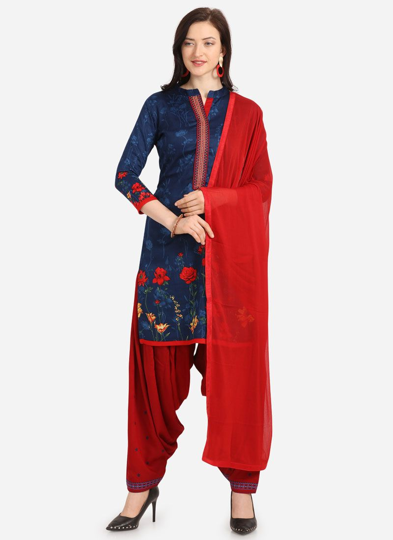 Embroidered Blue Cotton Trendy Patiala Salwar Kameez