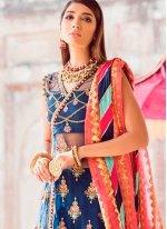 Embroidered Blue Designer Salwar Kameez