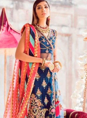 Embroidered Blue Designer Salwar Kameez