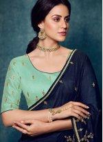 Embroidered Blue Designer Traditional Saree