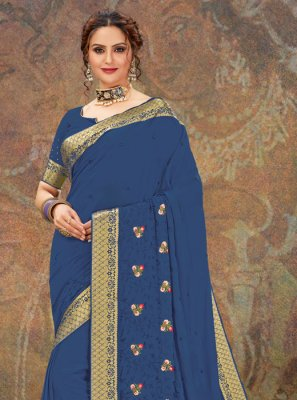 Embroidered Blue Designer Traditional Saree
