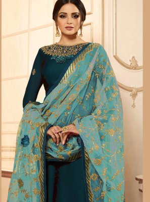 Embroidered Blue Drashti Dhami Churidar Designer Suit