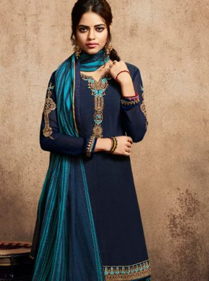 Embroidered Blue Faux Crepe Patiala Suit