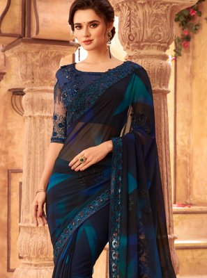 Embroidered Blue Faux Georgette Classic Designer Saree