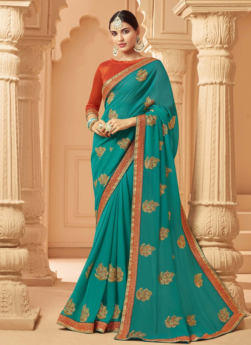 Embroidered Blue Georgette Classic Saree